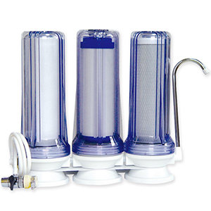 Smart triple cartridge counter top water filter system