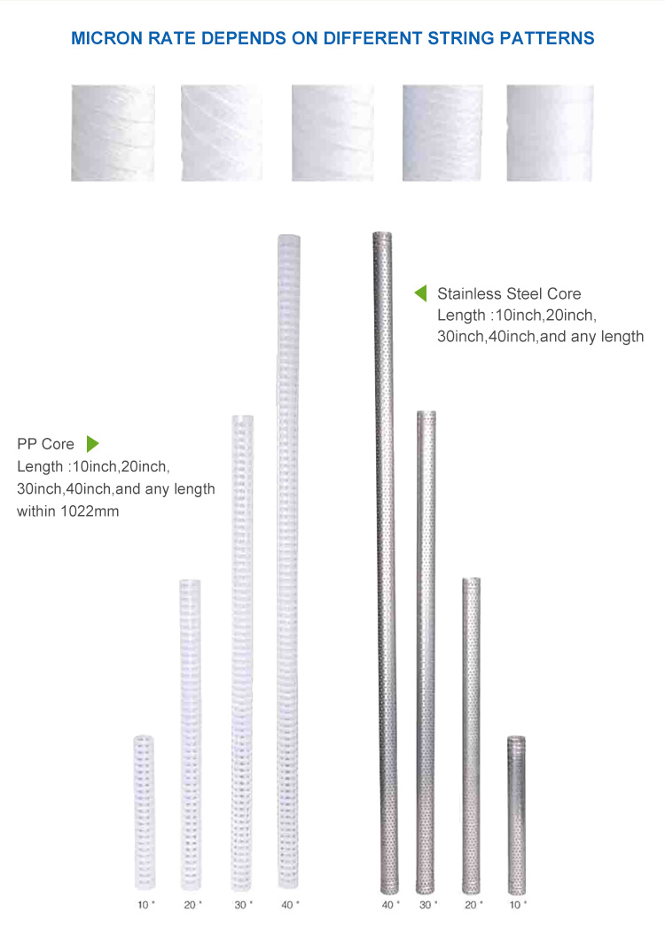String Water Filters, 20 Inch Big Blue Sediment Filter Cartridge